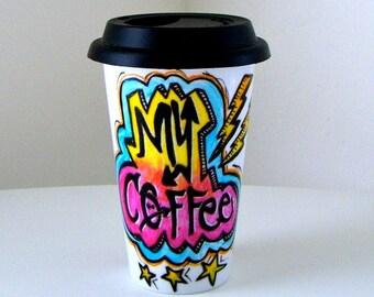 Ceramic Travel Mug Graffiti Lightning Bolts Stars Coffee Cup Hand Painted Attitude Hipster Street Urban Painted Rainbow Neon