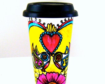Ceramic Travel Mug to go cup Love Birds Red Hearts Coffee Tumbler Folk Art Yellow Pink Blue Hand Painted - MADE TO ORDER