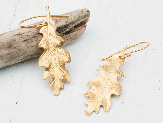 Gold Leaf Earrings, Autumn Jewelry, Oak Leaf, Leaf Earrings, Woodland Wedding, Boho Nature, Oak Tree,Gift for Her, Bridal Bridesmaid Jewelry