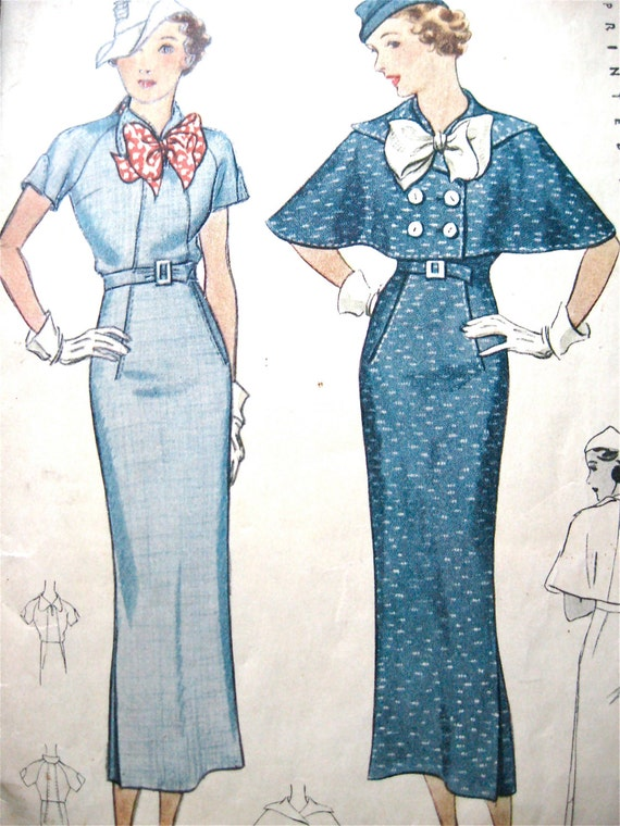 Vintage 1930s sewing pattern by McCall 8242 to make dress and