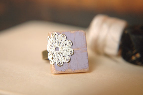Cottage Chic Ring Lilac and White Doily Lace Filigree Scrabble Tile  - Lavender & Lace