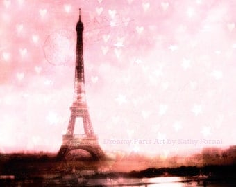 Paris Photography, Pink Eiffel Tower With Hearts, Baby Girl Nursery Decor, Paris Eiffel Tower Prints, Paris Eiffel Tower Pink Hearts Print