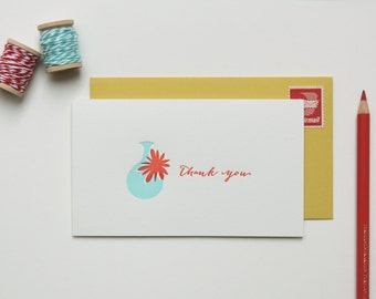 Letterpress Thank You Cards - Blank Thank You Cards - Blue Vase with Red Flower : Set of 6