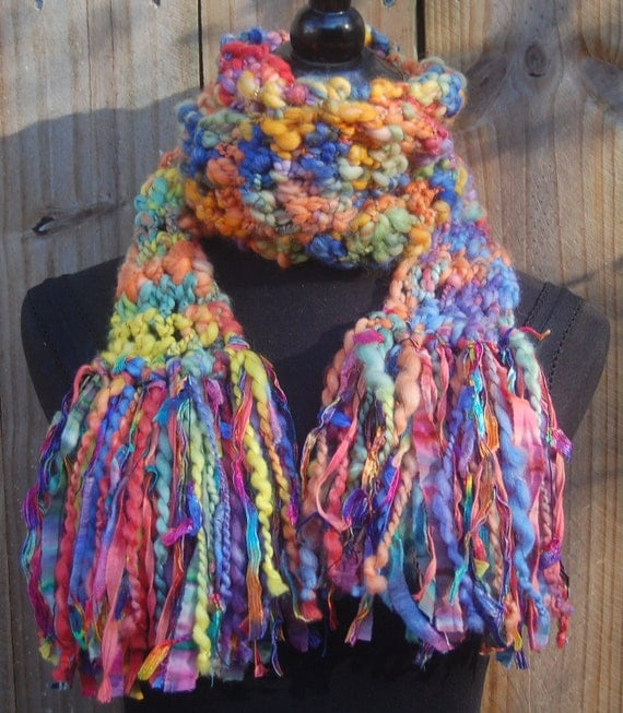 Handmade Multi Color Crochet One Of A Kind Scarf