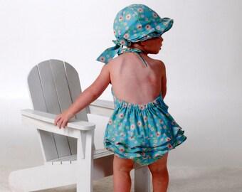 Sew Vintage Sun Suit and Flouncy Hat Pattern, Sizes 3 months - 24 Months, Baby Romper, Sun Bonnet