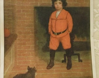 Little Boy in his First Pair of Red Pants with Black and White Cat - Kids Art Illustration Print - M.L. Kirk - ready to frame - 1910