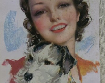 Pretty Lady Hugging Her Shaggy Dog - Vintage Artist Print - 1930's