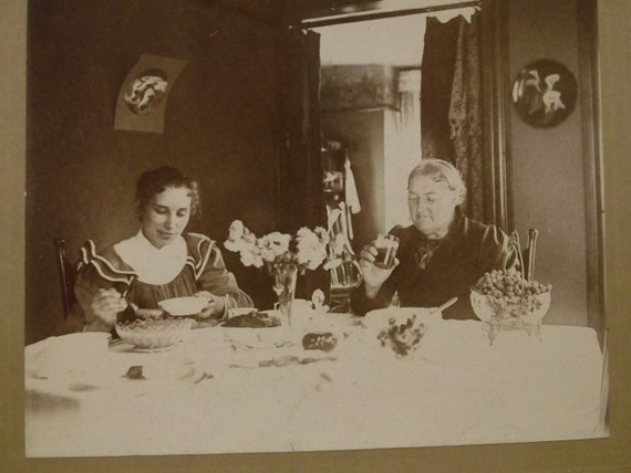 RESERVED for KRIS....Ladies Dining at the Table - Identified Moore - Antique Cabinet Photo - early 1900's