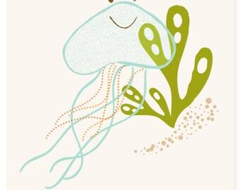 jellyfish wall art, ocean art for kids - nursery wall decor for baby
