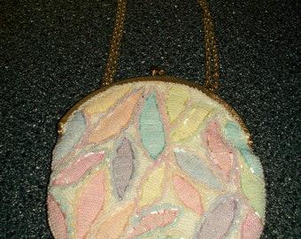 "Womens Purse/Eveing Bag : ~ Pastel 1950s Beaded ""Mister  Ernest""  Vintage  Evening Purse"