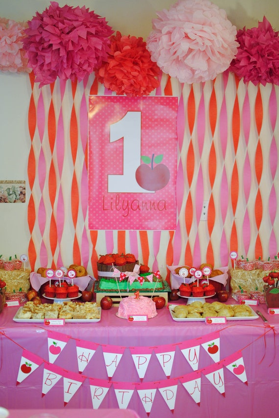 Items similar to apple festival birthday party pack print for 1st birthday decoration packs