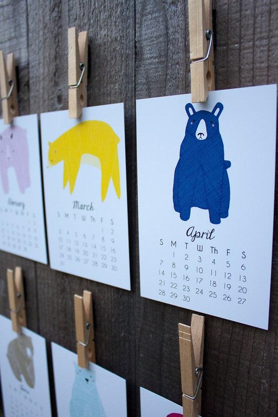 Petit ours 2014 calendrier, calendrier de bureau, calendrier mural prêt à expédier