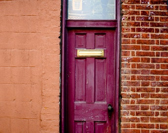Photograph Baltimore Skinny Plum Maroon Wood Exterior Door with Red Brick Walls Urban Facade Vertical Street Art Print Home Decor