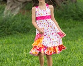 "Lovely ""Little Flower"" Ruffle Sundress for Girls - Hot pink & Orange - Spring - Easter - Summer - Sleeveless - Special Occasion - Party"