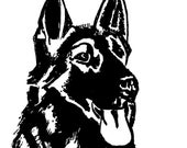 German Shepherd Dog Face Vinyl Decal Sticker