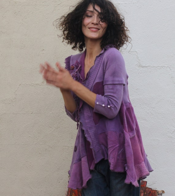 handmade dyed purple shades cashmere cardigan on sale S M