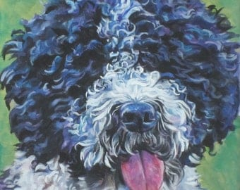 Spanish Water Dog art CANVAS print of LA Shepard painting 12x12