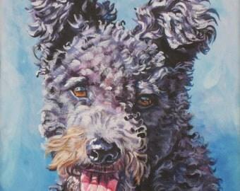 Hungarian Pumi Dog art CANVAS print of LA Shepard painting 12x12