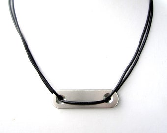 Mens Necklace w/ Hardware Pendant. Silver Bar Necklace. Industrial Jewelry. Men's Leather Necklace. Found Object Jewelry