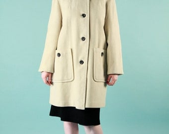 Vintage 60s Mod Ivory Wool Coat Red Plaid Liner Knee Length - Medium
