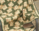 Lap Quilt,  Disappearing Nine Patch, Green Tan