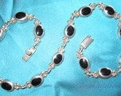Silver/Onyx RMCH 925 Mexico 74g sterling link necklace signed heavy EXC VTG