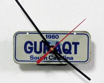 "1980 South Carolina ""GURAQT"" Bicycle License Plate Wall Clock - Mini SC Bike License Tag Clock - Gee you are a cutie"