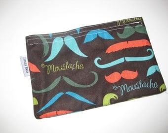 Snack Bag Mustache Love Eco Friendly Washable All Cotton