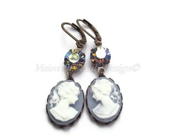 Blue & White Classic Cameo Earrings, Sapphire Earrings, Clip On Earrings