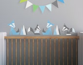 Modern Baby Nursery Wall Decal and Kids Wall Decal in Custom Colors. Foxes Children Wall Decal