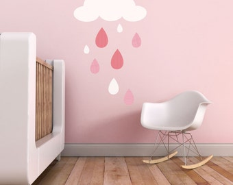 Rain Drops Wall Decal, Pink Wall Decal, Baby Girl Wall Decal, Clouds Decal. Rain Drops Children Wall Decal