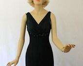 Vintage 50s Lilli Diamond Cocktail Dress Black Crepe w Sheer Chiffon Beaded Wiggle Dress