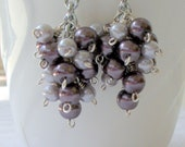 Lavender and Plum Beaded Bridal Earrings