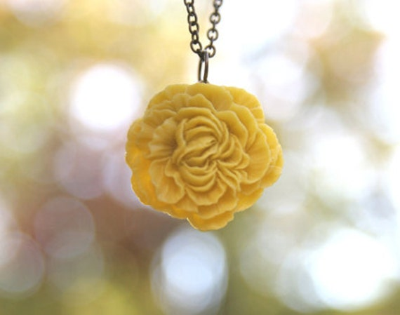 Mustard Yellow Peony Flower Necklace // Bridesmaid Gifts // Bridesmaid Necklaces // Country Wedding