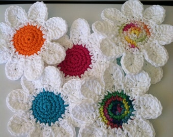 Coasters, Daisy Crochet Coasters Set of 2, Gift Idea