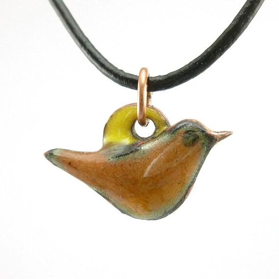 Tiny Enamel Brown Bird on a Yellow Circle Necklace