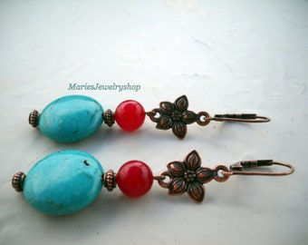 Handmade Copper Earrings with RoundTurquoise and Vintage Red Coral Beads