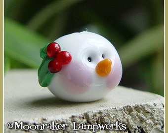 Snow Man Head Winter Holiday Lampwork Bead