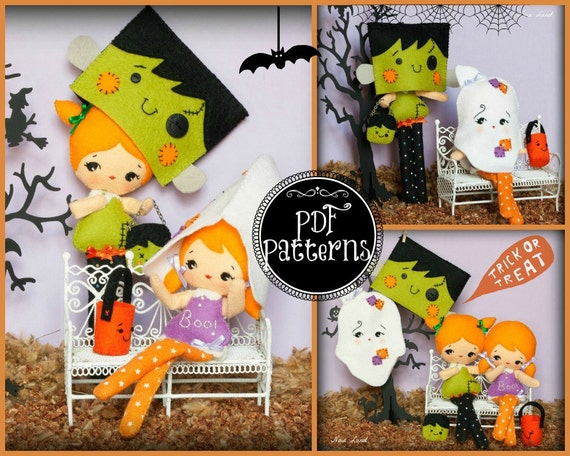 PDF. Halloween Franky and ghost dolls with masks and bags .Plush Doll Pattern, Softie Pattern, Soft felt Toy Pattern.