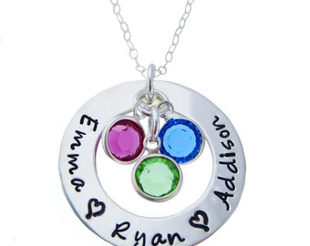 LOVES of My Life... A Circle of Names I love... with Birthstone Crystals- Hand Stamped Jewelry ByHannahDesign