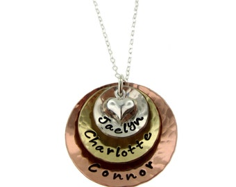 Mixed Metals with Puffed Heart - Personalized Handstamped Jewelry