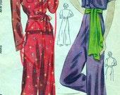 Vintage 1930's Simplicity Pattern 3623 - FABULOUS Two-Piece PYJAMAS and BOLERO - Bust 38