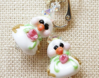 Snowman Earrings, Snowgirls, Winter Snow Storm Christmas Holiday