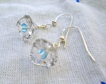 Earrings Flower Beads Clear Blue Crystal Dainty