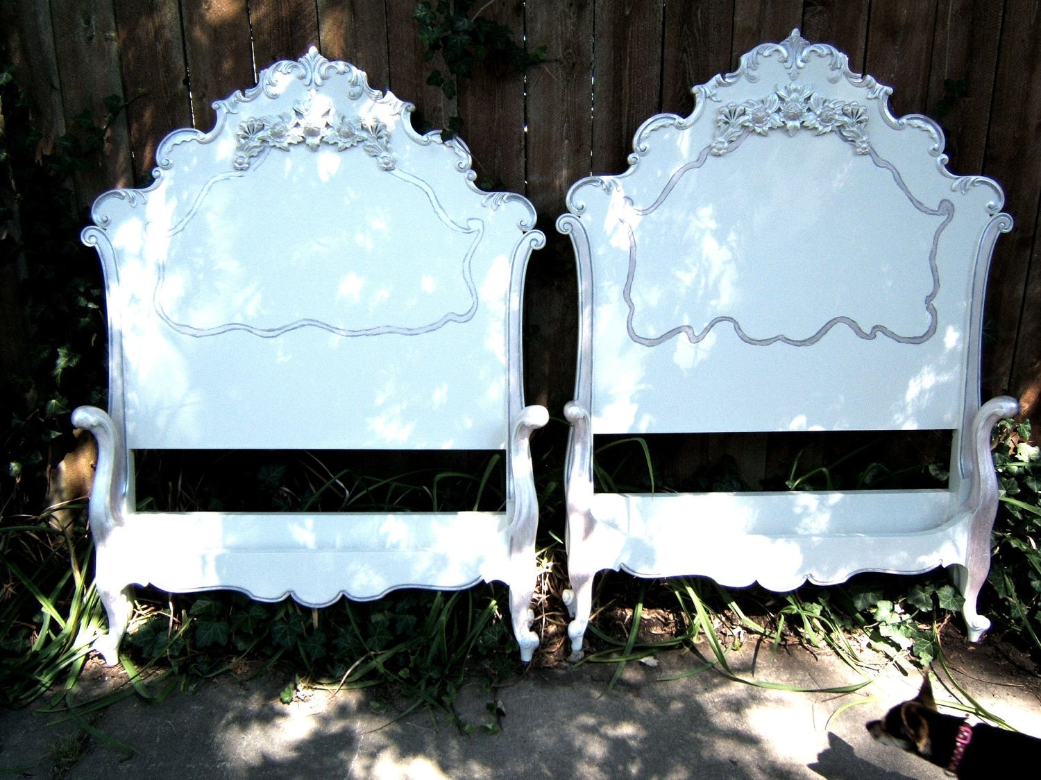 Shabby Rose Antique French Twin Beds Headboard Footboard