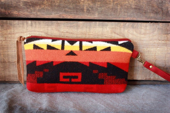 Pendleton Wool  & Leather Wristlet // Clutch w/ removable strap--LAST ONE--Ready to Ship--Save 10% off with Code