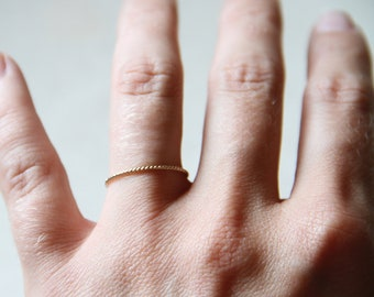 Delicate 14k Gold Twist Rope Stack Ring - Solid 14k Yellow Gold - Tiny Twist Textured Stacking Ring - Delicate Dainty Thin and Tiny Stacker