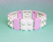 White and Pink Geek Bracelet with Silver Beads - made from New LEGO (r) Pieces and Silver Plated Beads