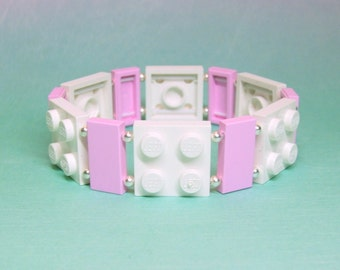 White and Pink Geek Bracelet with Silver Beads - made from New LEGO®  Pieces and Silver Plated Beads