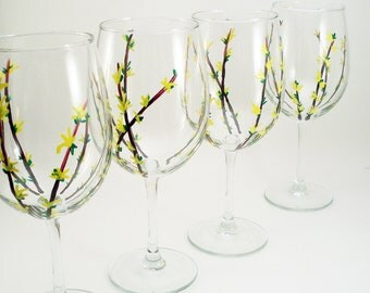 Forsythia branches yellow flowers, hand painted wine glasses with forsythia flowers, painted glassware, set of 4